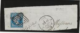 TIMBRE N° 14 A - VARIETE FER A CHEVAL - CAD PARIS 1860 - 1853-1860 Napoleone III