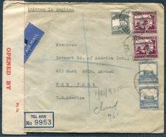 1942 Palestine Registered Censor Airmail Cover, Universal Trading Co.Tel Aviv - New York, USA - Palestine