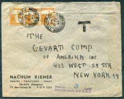 1946 Palestine  Nachum Riemer, Tel Aviv Cover - New York, USA. Postage Due, Taxe - Palestine
