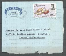 USED AIR MAIL AEROGRAMME MAURITIUS TO PAKISTAN - Mauritius (1968-...)