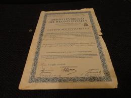 CERTIFICATO DEBITO PUBBLICO 1934 CON 12 RICEVUTE RATE SEMESTRALI  DA LIRE 70 - Azioni & Titoli