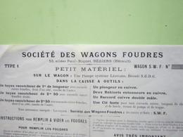 Facture Document - SOCIETE DES WAGONS FOUDRES à Béziers (Hérault) 2/12/1900 - TYPE 1 - WAGON S.W.F N° - 1900 – 1949