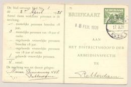 Nederland - 1933 - 3 Cent Arbeidslijstkaart G15a Met LB-stempel ROTTERDAM / RVZB 1 - Poststempels/ Marcofilie