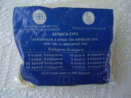 GREECE 45 COINS IN EURO 2002 FIST EDITION PACKET BANK OF GREECE - Grèce