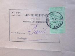 Facture Document R.F AVIS DE RECEPTION POSTES Et TELEGRAPHES De Prémery (58) à Paris (75) 4/05/1900 Timbres Sage 5c Vert - 1898-1900 Sage (Type III)