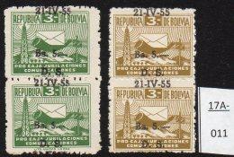 Bolivia 1955 Obligatory Tax Set/2 5b/3b Post-horn Radio Mast Surcharge à Cheval – See Text. MNH - Bolivia