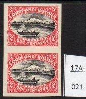 Bolivia 1918 Lake Titicaca Ship Boat MH Imperf Pair (SG144a; Scott 113a) - Bolivia