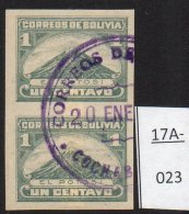 Bolivia 1917 Mount El Potosi Volcano IMPERF Pair Used (cto) Scott 112a SG 143a. Unusual Used. - Bolivia