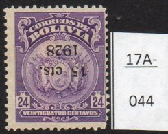 Bolivia 1928 Arms Condor Bird 15c/24c MH With Surcharge Inverted. SG 213a - Bolivia