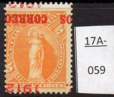 Bolivia 1912 5c With CORREOS 1912 Overprint INVERTED And Mis-placed. MH. SG 131a - Bolivia