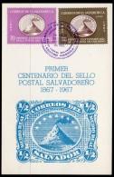 1967 El Salvador Stamp Centenary Set/2 Volcano On Fdc (first Day CARD), Neat Special Cancel. - El Salvador