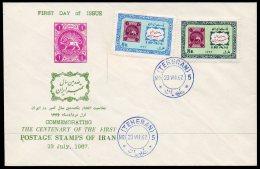 1967 Iran Persia Stamp Centenary Set/2 With Fine 23 VII 67 Fdc Cancellation. Unaddressed. - Iran