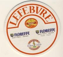 2 Beaux Sous Bocks, Bierviltje, Coaster, Bierdeckel Carton LEFEVRE FLOREFFE  Blanche De Bruxelles  Belgian Kriek - Beer Mats