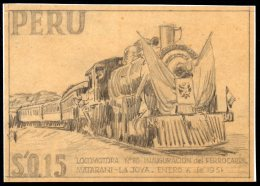 Peru 1953 Railway Train Steam Locomotive Original Artist's Sketch – De La Rue - UNIQUE. See Text - Peru
