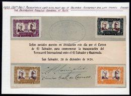 El Salvador 1929 Salvador – Guatemala Railway Opening – Ministerial Signed Presentation Card. - El Salvador