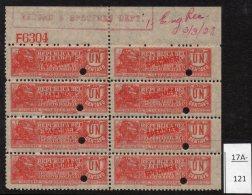 Ecuador C.1920 Tobacco Tax Revenue 1c Railway Train Perf 12 Blk/8 With ABN Co. Specimen Opt. MNH - Ecuador
