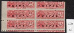 Ecuador 1936 POSTAL Opt On 1c Tobacco Revenue Railway Train Blk/6 IMPERF VERTICALLY. MNH - Ecuador
