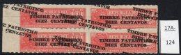 Ecuador 1936 10c/1c Tobacco Tax Stamp Steam Railway Train Block/4 Variety – See Text. MH - Ecuador