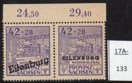 Germany Eilenburg 1945 Railway Train Eisenbahn Pair With SA Joined Variety. Abart Mi.89VI A. MNH - Soviet Zone