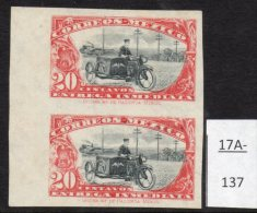 Mexico 1924 Express Postman Motorbike Motorcycle IMPERF Pair, Mint No Gum. Very Scarce. - Mexico