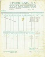 Facture. Ginstbronnen, Eau De Source. Scheldewindeke. Brouwerij Hosten-Bonte, Moorslede. 1948. - Bélgica