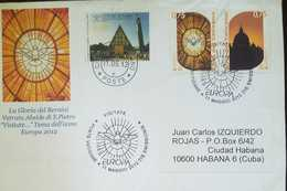 O) 2012 VATICAN, THE GLORY OF THE BERNINI VETRATA ABSIDE DI S. PIETRO VISITATE, ARCHITECTURE-LANDSCAPE, FDC TO CARIBE - FDC