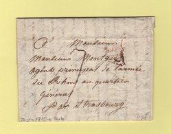 Destination Armee Du Rhin Par Strasbourg - 22 Juin 1815 - De Paris Avec Correspondance Evoquant L'abdication De Napoléon - Marcophilie (Lettres)