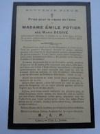Réf: 41-17-34.     Mme POTIER Emile  Née  DEGIVE Marie      Décédée à Ciney - Avvisi Di Necrologio