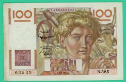 100 Francs - France -  Jeune Paysan - N° B.585 63533 - J.7=1=1954.J. - TB+  - - 1871-1952 Anciens Francs Circulés Au XXème