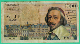 1000 Francs - France -  Richelieu - N°. P.201 10161 / E.1-12-1955.E. - TB+  - - 1871-1952 Anciens Francs Circulés Au XXème