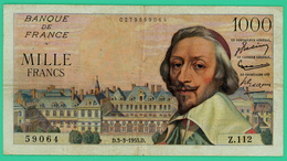 1000 Francs - France -  Richelieu - N°. Z.112 59064 / D.3-3-1955.D. - TTB  - - 1871-1952 Anciens Francs Circulés Au XXème