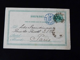 ENTIER POSTAL  SUEDE   -  CACHET BLEU   PARIS - ETRANGER  -  1890  - - Marcophilie (Lettres)