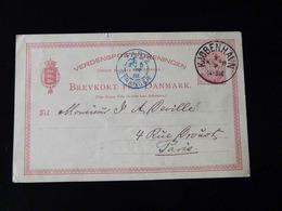 ENTIER POSTAL  DANEMARK   -  CACHET BLEU   PARIS - ETRANGER  -  1885  - - Marcophilie (Lettres)
