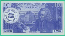 10 Francs - France - Fictif Publicitaire - Librairie Colin - Pour Usage Scolaire - TTB - - Fictifs & Spécimens