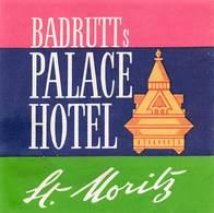 "D8591 ""BADRUTTS PALACE  HOTEL - ST, MORITZ"" ETICHETTA ORIGINALE - ORIGINAL LABEL - Adesivi Di Alberghi"