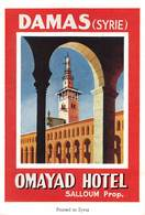 "D8592 "" OMAYAD  HOTEL - DAMAS (SYRIE) "" ETICHETTA ORIGINALE - ORIGINAL LABEL - Adesivi Di Alberghi"