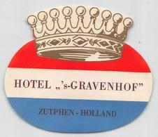 "D8593 "" HOTEL - S-GRAVENHOF - ZUTPHEN - HOLLAND "" ETICHETTA ORIGINALE - ORIGINAL LABEL - Adesivi Di Alberghi"