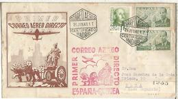MADRID CC CERTIFICADA A BATA GUINEA CON MARCA PRIMER CORREO AEREO DIRECTO AL DORSO LLEGADA - Luftpost