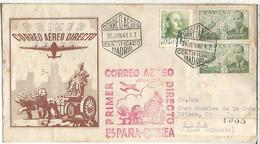 MADRID CC CERTIFICADA A BATA GUINEA CON MARCA PRIMER CORREO AEREO DIRECTO AL DORSO LLEGADA - Poste Aérienne