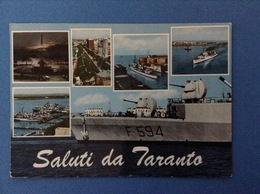 CARTOLINA FORMATO GRANDE VIAGGIATA SALUTI DA TARANTO NAVE MILITARE - Taranto