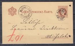 Correspondenz-Karte Van Karlsbad Naar Michelob Mecholupy - 1850-1918 Imperium