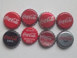 Lote 8 Chapas Kronkorken Caps Tappi Coca Cola. Chequia. España - Chapas Y Tapas