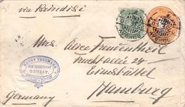 INDIA - STATIONARY ENVELOPE + ADD STAMP 1900 BOMBAY - HAMBURG - 1882-1901 Imperium