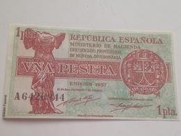 Billete 1 Peseta. 1937. República Española. Guerra Civil. Facsimil. Diosa Cibeles Madrid. Sin Circular - 1-2 Pesetas