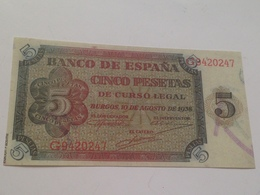 Billete 5 Pesetas. 1938. Burgos. Estado Español. Guerra Civil. Facsimil. Sin Circular - [ 3] 1936-1975 : Regency Of Franco