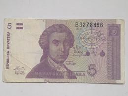 Billete Croacia. 5 Dinares. 1991 - Croacia