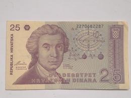 Billete Croacia. 25 Dinares. 1991. Muy Buena Conservación - Croazia
