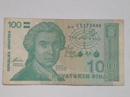 Billete Croacia. 100 Dinares. 1991. Muy Buena Conservación - Croazia