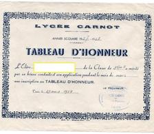 *TABLEAU D'HONNEUR *SATISFECIT *ORDRE DU JOUR Lycée Carnot TUNIS Tunisie ANNEE 1958 - Diplome Und Schulzeugnisse
