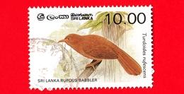 SRI LANKA - Usato - 1987 - Uccelli - Garrulo - Orange-billed Babbler (Turdoides Rufescens) - 10.00 - Sri Lanka (Ceylon) (1948-...)